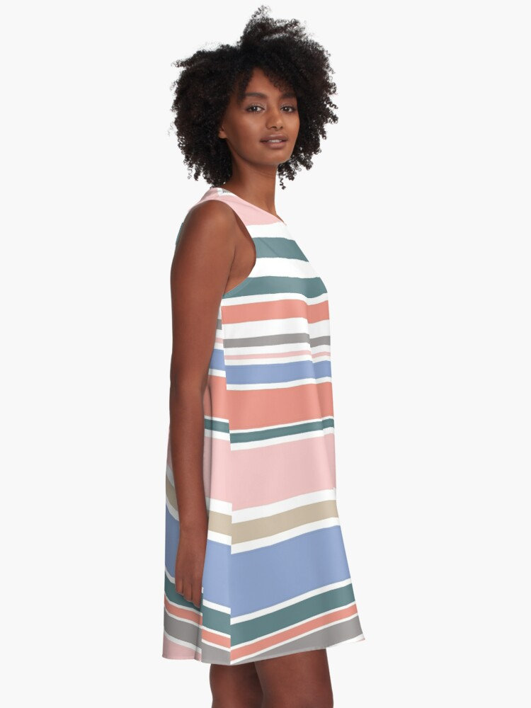 Alternate view of Trendy Rose Quartz Pink Colorful Stripes A-Line Dress