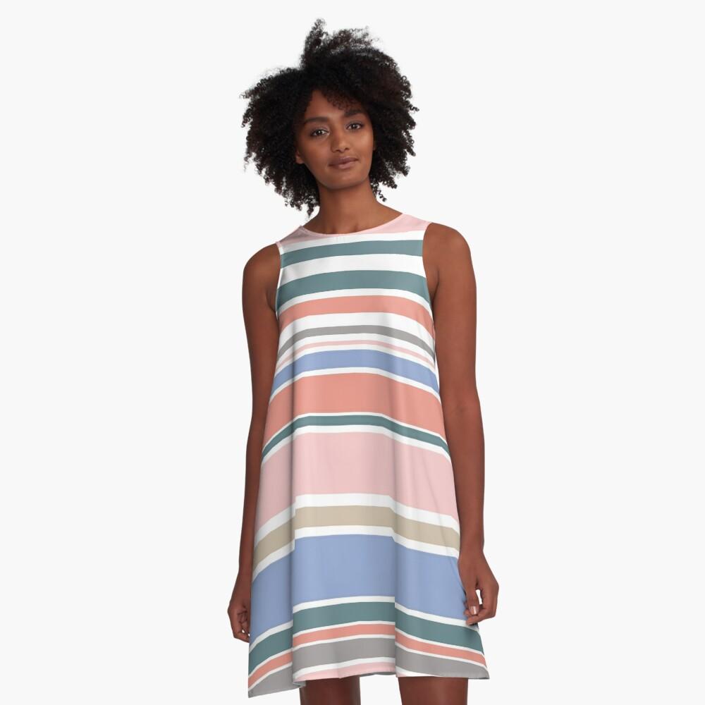 Trendy Rose Quartz Pink Colorful Stripes A-Line Dress
