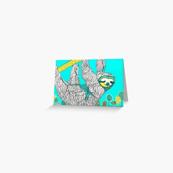 Spring Sloth Greeting Card