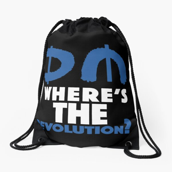 Where's The Revolution? Blue Drawstring Bag