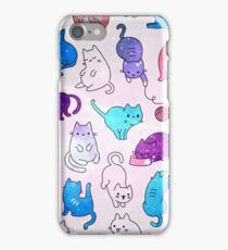 Space Cats - Galaxy Stars Pink Blue Purple Star Kitty Pattern iPhone Case/Skin