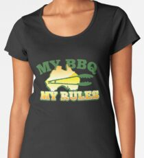 MY BBQ (barbecue) MY RULES Aussie Australian flag and tongs Women's Premium T-Shirt