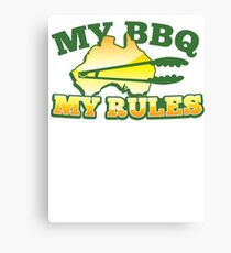 MY BBQ (barbecue) MY RULES Aussie Australian flag and tongs Canvas Print