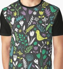 Paper-cut meadow - teal, lemon and green on charcoal Graphic T-Shirt