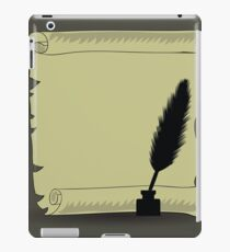 old paper and feather isolated on dark background iPad Case/Skin