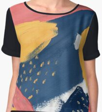Pink/Yellow/Blue Women's Chiffon Top