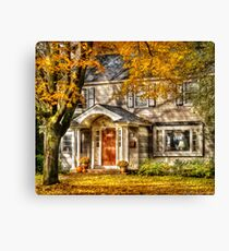 A little house in the fall  Canvas Print