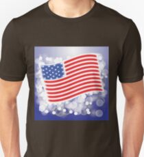 American Flag Waving on Blue Blurred Background Unisex T-Shirt