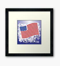 American Flag Waving on Blue Blurred Background Framed Print