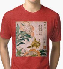 Hokusai Katsushika - Peony And Canary  Tri-blend T-Shirt