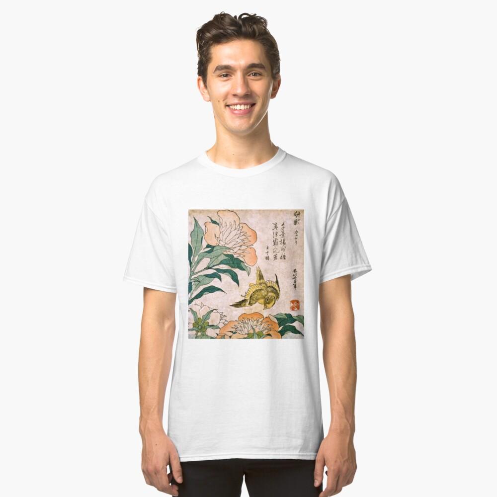Hokusai Katsushika - Peonía y Canarias Camiseta clásica