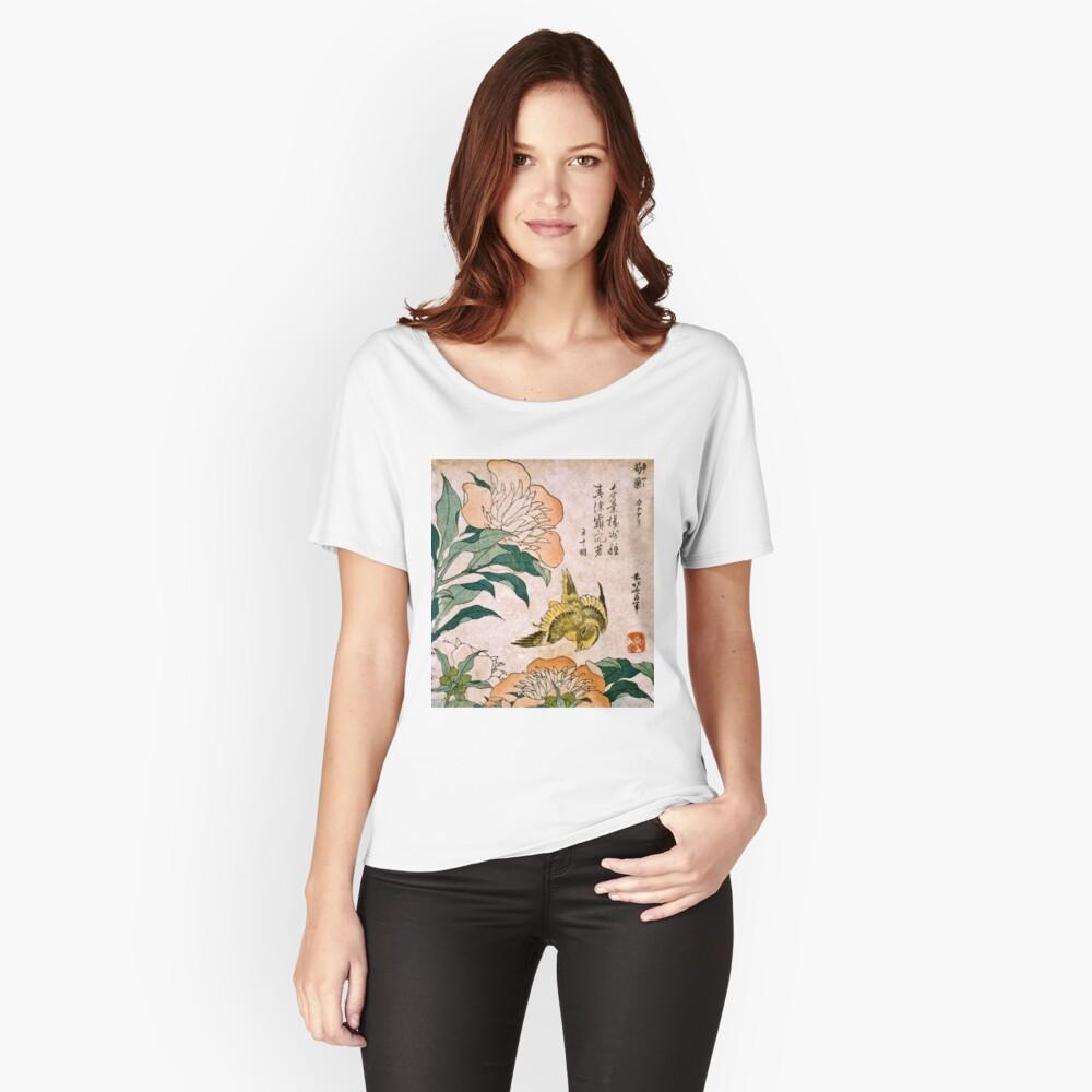 Hokusai Katsushika - Peonía y Canarias Camiseta ancha