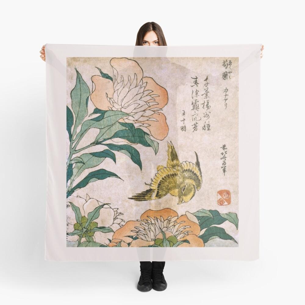 Hokusai Katsushika - Peonía y Canarias Pañuelo