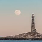 Pink moon rising over Thacher Island by Roger Porter