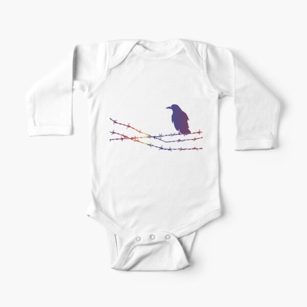 Bird on barbed wire in pastel Long Sleeve Baby One-Piece
