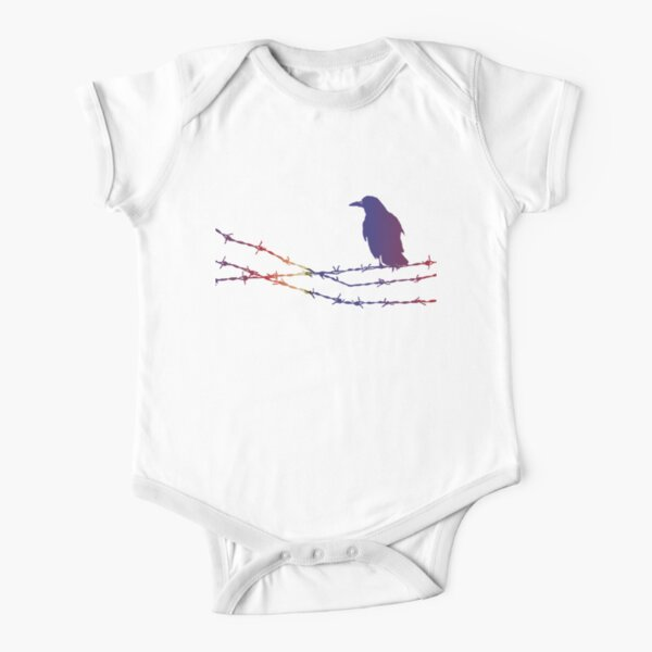 Bird on barbed wire in pastel Short Sleeve Baby One-Piece