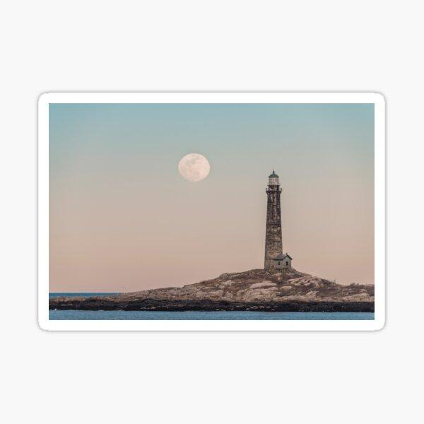 Pink moon rising over Thacher Island Sticker