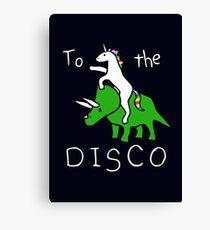 To The Disco (white text) Unicorn Riding Triceratops Canvas Print