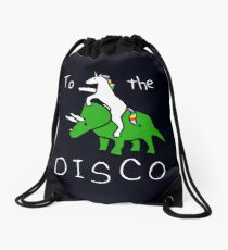 Mochila saco To The Disco (texto blanco) Unicorn Riding Triceratops