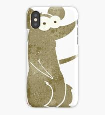 retro cartoon mouse with coffee cup iPhone Case/Skin