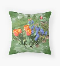 Tulips with Grape Hyacinth Throw Pillow