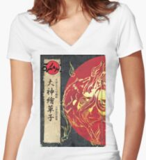 Old School Okami Women's Fitted V-Neck T-Shirt