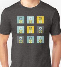 Scandinavian flowers 02, yellow-gray-teal, retro pattern Unisex T-Shirt