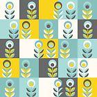 Scandinavian flowers 02, yellow-gray-teal, retro pattern by Slanapotam