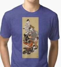 Hokusai Katsushika - Five Beautiful Women Tri-blend T-Shirt