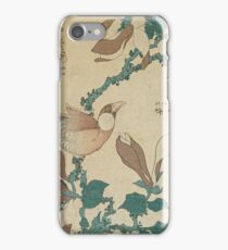 Hokusai Katsushika - A Paddy Bird Perched On A Flowering Magnolia Branch iPhone Case/Skin