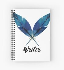 Writer! Blue Feathers Spiral Notebook
