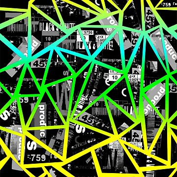 Structure of triangles with a collage of inscriptions font by Nata-V