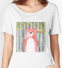 Bear- Woodland Friends- Watercolor Illustration Women's Relaxed Fit T-Shirt