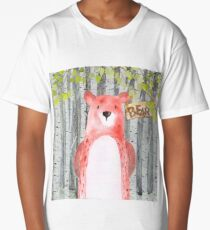 Bear- Woodland Friends- Watercolor Illustration Long T-Shirt
