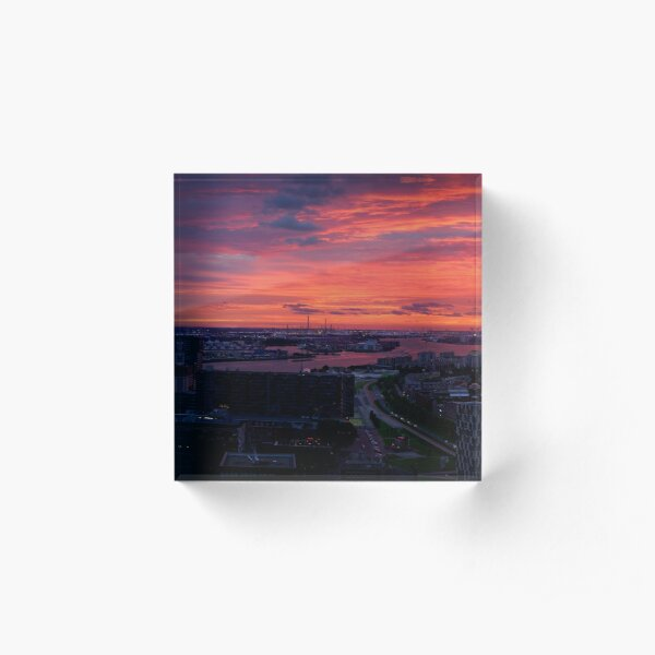 Sunset on River Nieuwe Maas, Rotterdam, (from Euromast) Acrylic Block