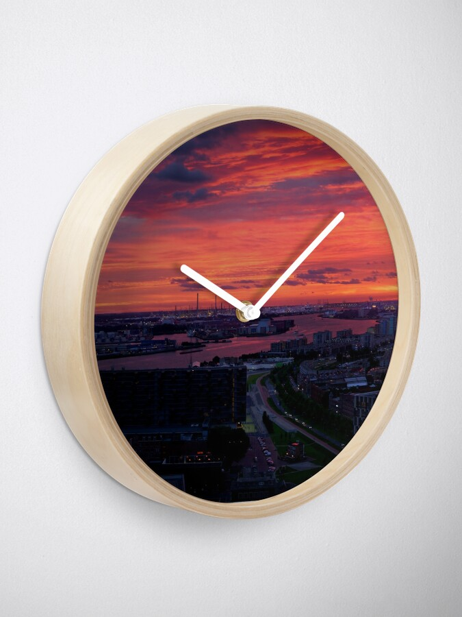Alternate view of Sunset on River Nieuwe Maas, Rotterdam, (from Euromast) Clock