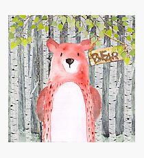 Bear- Woodland Friends- Watercolor Illustration Photographic Print