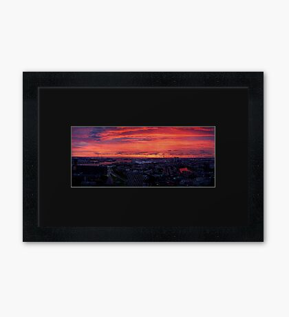 Sunset on River Nieuwe Maas, Rotterdam, (from Euromast) Framed Print