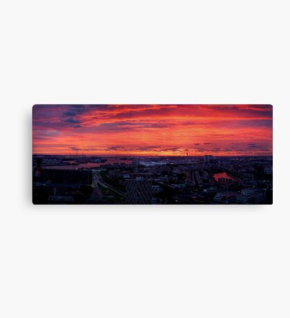 Sunset on River Nieuwe Maas, Rotterdam, (from Euromast) Canvas Print