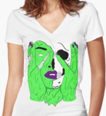 Melting Face (Green/Purple) Women's Fitted V-Neck T-Shirt
