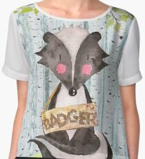 Badger- Woodland Friends- Watercolor Illustration Chiffon Top