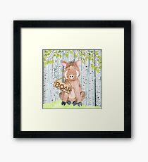 Boar- Woodland Friends- Watercolor Illustration Framed Print