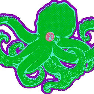 Green Octopus on Purple by z0mbieparade