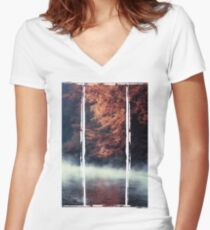 Nature*s Mirror - Fall at the River Women's Fitted V-Neck T-Shirt