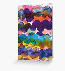 Abstract waves sunset watercolor painting - Colorful tidal Greeting Card