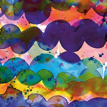 Abstract waves sunset watercolor painting - Colorful tidal by ninoladesign