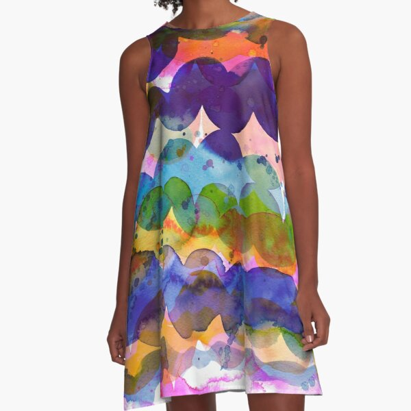 Abstract waves sunset watercolor painting - Colorful tidal A-Line Dress