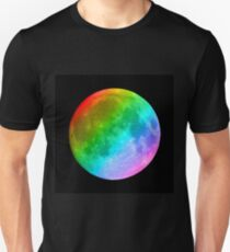 Rainbow colored full moon Unisex T-Shirt