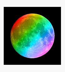 Rainbow colored full moon Photographic Print