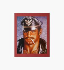 Leather Man with cigarette Art Board Print